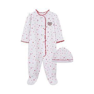 Little Me Girls' 2-Piece Star Print Footie & Hat Cotton Set - Baby