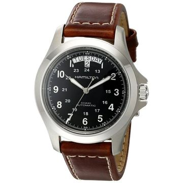 Hamilton Men's H64455533 'Khaki King' Automatic Brown Leather Watch (Hamilton Men's H64455533 Leather)
