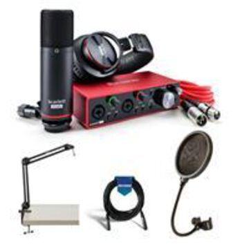 Focusrite Scarlett 2i2 Studio 3rd Generation USB Interface - Bundle With, Samson 28& Microphone Boom Arm Stand, Samson PS04 Pop Filter, 20' XLR Mic Cable