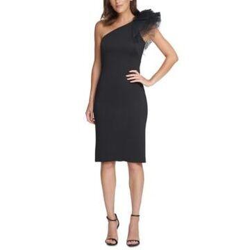 Eliza J One-Shoulder Tulle Sheath Dress