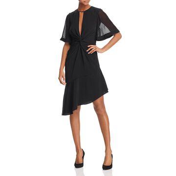 Keepsake Womens No Love Asymmetric Bell Sleeves Party Dress