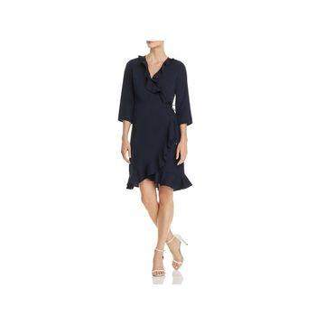 Vero Moda Womens Molly Wrap Dress Ruffled Three-Quarter Sleeve