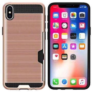 Insten PC/TPU Rubber ID/Card Slot Case Cover For Apple iphone X XS - Rose Gold