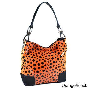 Dasein Glossy Polka Dot Hobo Bag