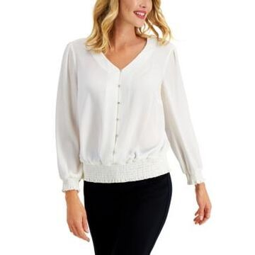 Jm Collection Smocked Button Blouse, Created for Macy's