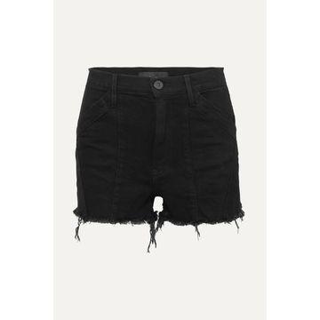 3x1 - Jason Wu Paneled Frayed Denim Shorts - Black