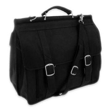 Piel Leather Classic European Briefcase in Black
