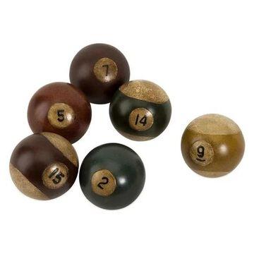 Finish Billiard Pool Balls Set 6 Stonepowder Polyresin Decor