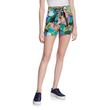 Multi-Printed Sash Tie Rolled Cuffs Shorts