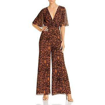 Finders Keepers Lana Flutter Sleeve Snakeskin Print Jumpsuit