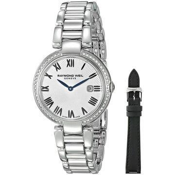 Raymond Weil Women's 1600-STS-00659 'Shine' Diamond Interchangeable Black Satin Strap Stainless Steel Watch