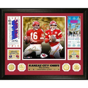 Highland Mint Len Dawson & Patrick Mahomes Kansas City Chiefs 13'' x 16'' Then and Now Bronze Coin Photo Mint
