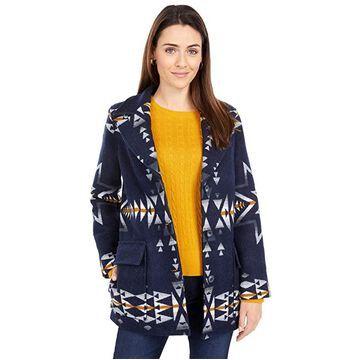 Pendleton Wahkeena Coat (Navy Plains Star Jacquard) Women's Coat