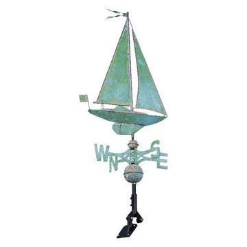 Copper Sailboat Classic Directions Weathervane, Verdigris