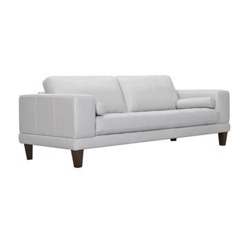 Armen Living Wynne Contemporary Sofa in Genuine Dove Grey Leather with Brown Wood Legs in Gray   LCWY3DV