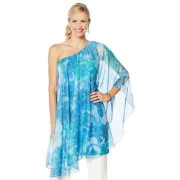 Heidi Daus Printed Chiffon One-Shoulder Overlay Dress
