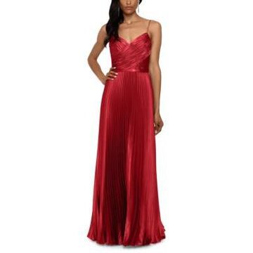 Betsy & Adam Pleated Satin Grecian Gown