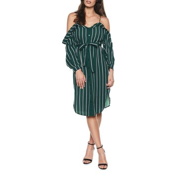 Paloma Striped Cold-Shoulder Shirtdress