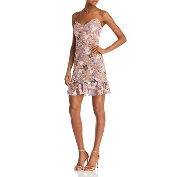For Love & Lemons Womens Embroidered Flounce Party Dress