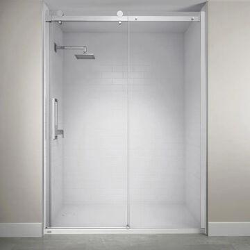 Jacuzzi 79-in H x 60-in W Semi-frameless Sliding Chrome Shower Door (Clear Glass)   SX60827