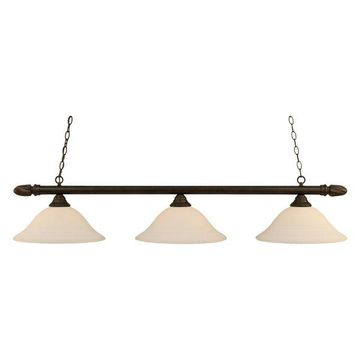 Toltec-Lighting Round 3-Light Billiard-Light, 16' White Linen Glass