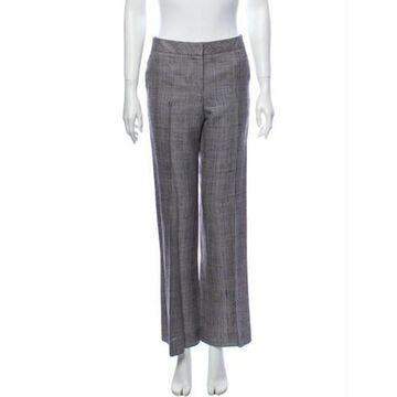 Plaid Print Wide Leg Pants Grey