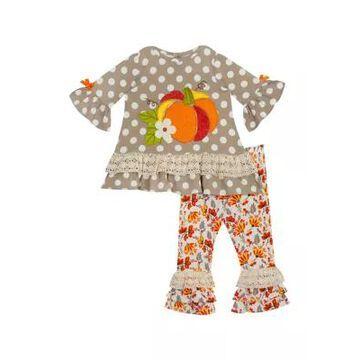 Rare Editions Girls' Toddler Girls Harvest Pumpkin Top And Leggings 2 Piece Set - -
