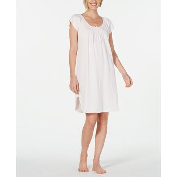 Embroidered Smocking-Trim Nightgown