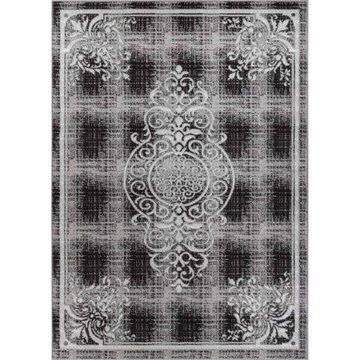 Well Woven Ash Ferah Medallion Contemporary Area Rug, Grey