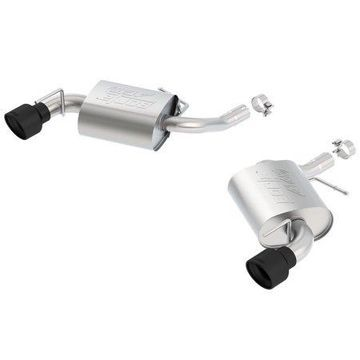 Borla 11929CB ATAK Axle-Back Exhaust System; 2.25 in. Into Muffler 2.75 in. Out; Incl. Mufflers/Hardware/4.5 in. Rolled AngleCut Black Ceramic Tips; w/o NPP Exhaust; Single Split Rear Exit;