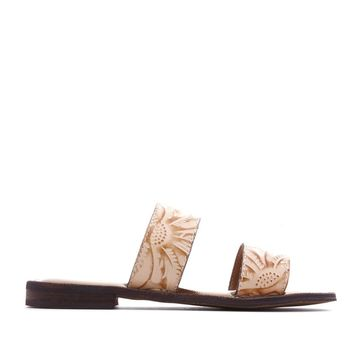 Patricia Nash Flair Tooled Leather Flat Sandal