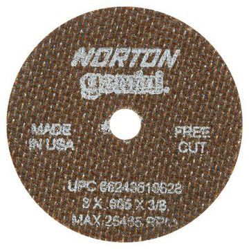 Norton Reinforced Cut-Off Wheel, Type 1, 3 in Dia, .035 in Thick, 3/8 Arbor, 60 Grit