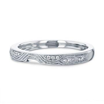 Annello by Kobelli 14k White Gold 5pts Diamond Milgrain Curved Notch Matching Wedding Band - Annello 62261 Series