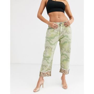 One Teaspoon bandits camo straight leg jean with Leopard detail-Green