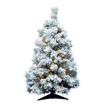Vickerman Pre-Lit 3' Flocked Alaskan Artificial Christmas Tree, LED, Warm White Lights