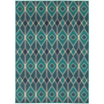 Style Haven Global Influence Geometric Diamond Blue/Teal Rug (9'10 x 12'10) - 9'10