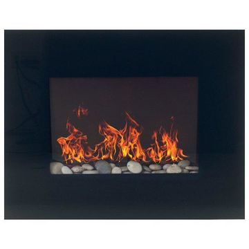 Black Glass Panel Electric Fireplace Wall Mount & Remote by Northwest