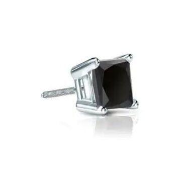 Auriya 1/2ctw Princess-cut SINGLE STUD (1) Black Diamond Earring 14k Gold (White)