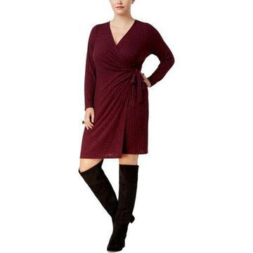 NY Collection Womens Plus Knit Ribbed Wrap Dress