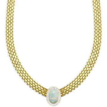 Dolce Giavonna Gold Overlay Simulated Opal and Diamond Accent Oval Bizmark Necklace