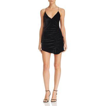 For Love & Lemons Womens Viva Velvet Silk Blend Mini Dress