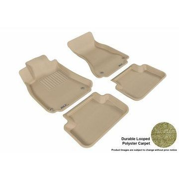 3D MAXpider 2009-2016 Audi A4/S4/RS4 Front & Second Row Set All Weather Floor Liners in Tan Carpet