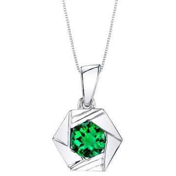 Oravo Simulated Emerald Sterling Silver Cirque Pendant Necklace - Green