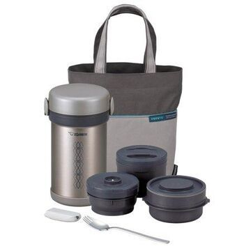 Zojirushi SL-NCE09ST Ms. Bento 28oz Stainless Steel Lunch Jar Set, Stainless Silver