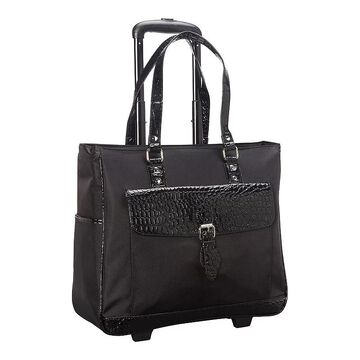 Heritage Faux Leather Wheeled Laptop Business Tote & Carry-On Bag, Black