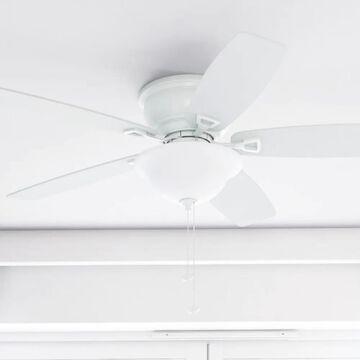 """Honeywell Glen Alden 52"""" White Low Profile LED Ceiling Fan with Light"""