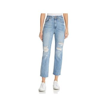 DL1961 Womens Straight Leg Jeans Destroyed High-Rise