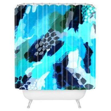 Fleck Shower Curtain Blue - Deny Designs