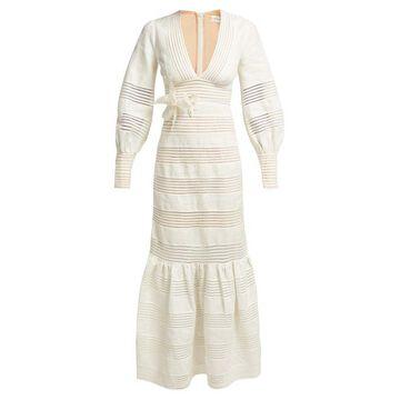 Zimmermann - Corsage Midi Dress - Womens - Ivory