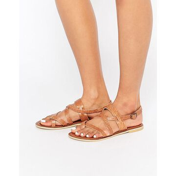 Park Lane Simple Strappy Leather Flat Sandals